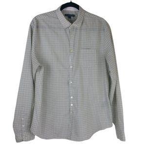 John Varvatos Plaid Green/White Long Sleeve Men's